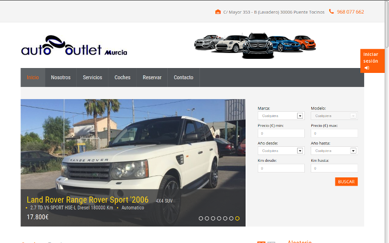 Pagina web Auto Outlet