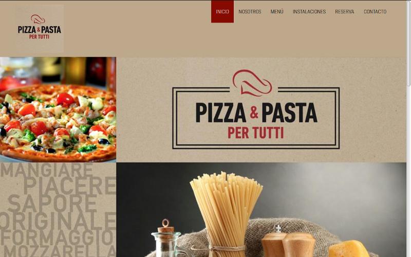 Pagina web Pizzeria Per Tutti