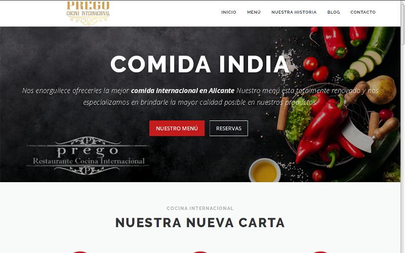 Pagina web Restaurant Prego